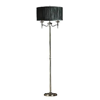 2 Light Floor Lamp Polished Nickel Plate with Black Shade, E14