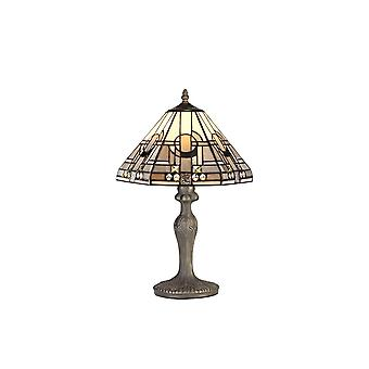 1 Light Curved Table Lamp E27 With 30cm Tiffany Shade, White, Grey, Black, Clear Crystal, Aged Antique Brass