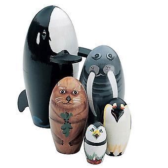 Drewniany pingwin wielorybów zwierząt Matrioszka Nesting Dolls Figurki Dzieci Zabawki