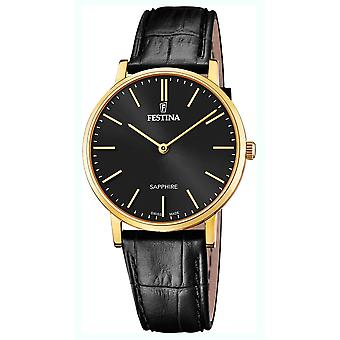 Festina swiss made watch for Analog Quartz Men with Cowhide Bracelet F20016/3