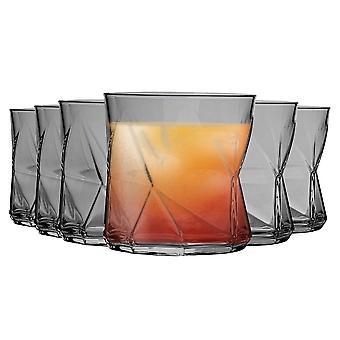 Bormioli Rocco Cassiopea Geometric Whisky Tumbler Glasses Set - 320ml - Grey - Pack of 6