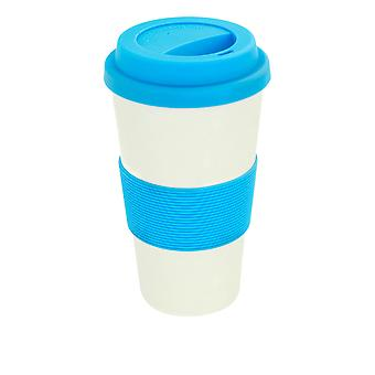 Reusable Coffee Cup - Bamboo Fibre Travel Mug with Silicone Lid, Sleeve - 400ml (14oz) - Blue