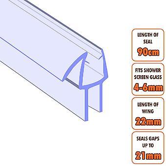 ECOSPA Bath Shower Screen Door Seal Strip - for 4-6mm Glass - Seals Gaps to 21mm