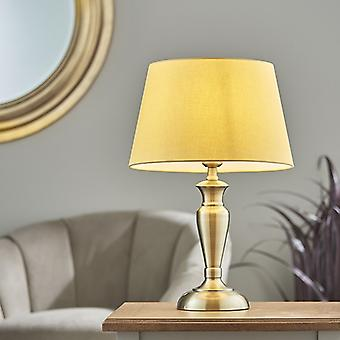 Endon Lighting Oslo & Evie - Tafellamp antieke koperen plaat en geel katoen 1 Licht IP20 - E27