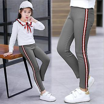 Spring Autumn Kids Girls Leggings Side Striped Elasticity Pants Trousers