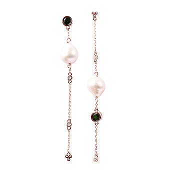 Isabella Liu Twilight Collection-Diamond Dangle Earrings Rose Gold Plated Silver