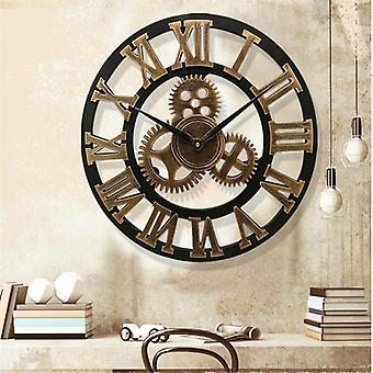 3d Large Classic Vintage Wooden Wall Clock, Retro Gear Hanging Roman Numeral