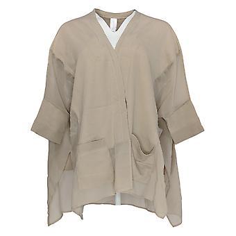 WynneLayers Women's Sweater Knit Open Front Topper W/ Chiffon Beige 682-660