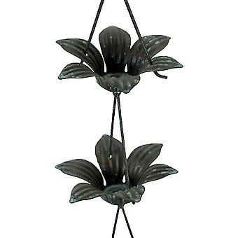 Verdigris Finish Metal Lily Flower Rain Chain w/Attached Hanger 48 Inch