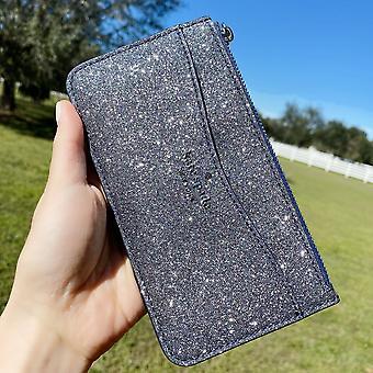 Kate spade lola suuri ohut kortin haltija lompakko järjestäjä glitter hämärä