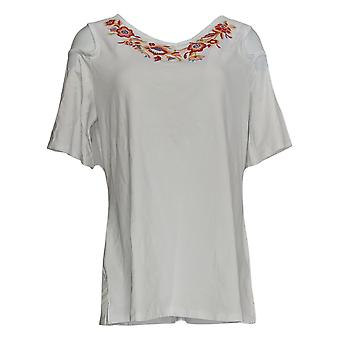 Belle By Kim Gravel Women's Top TripleLuxe Knit Embroidered White A303492