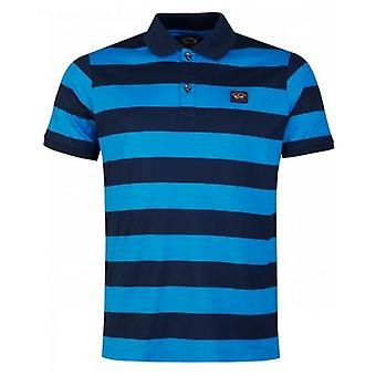 Paul And Shark Two Colour Striped Short Sleeved Polo