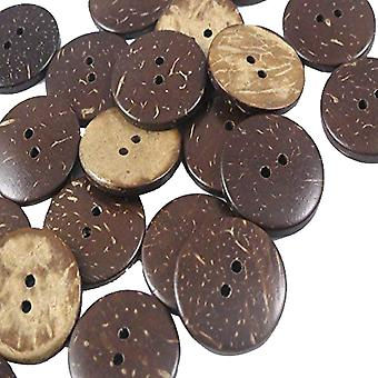 100stk 2 huller runde syning Coconut Shell Knapper Craft Brown 23mm