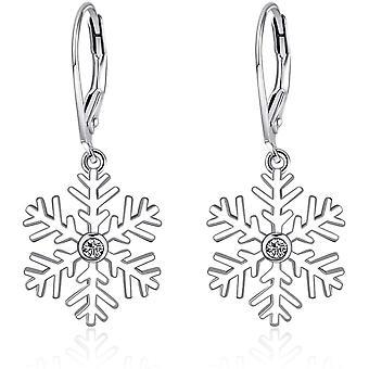 YFN Snowflake Earrings Sterling Silver Winter Party Snowflake Pierced Earrings