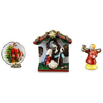 בית הבובות חג המולד המולד &&; צלחת קישוטים Reutter סט אבצלן חרסינה