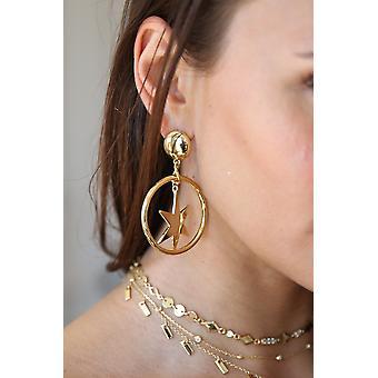 Boucles d'oreilles spectaculaires Star Hoop 18k Gold Plaquées