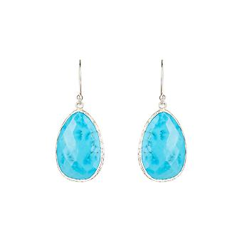 925 Boucles d'oreilles Sterling Silver Blue Natural Turquoise Gemstone Single Drop Hook
