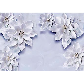 Fondo de pantalla Mural 3d con flores blancas an