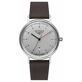 Bauhaus Men's Brown Italian Leather Strap | Silver Tone Dial 2140-1 Watch