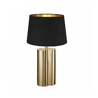 Calan Table Lamp In Steel, Gold Effect Plate And Black Cotton Fabric