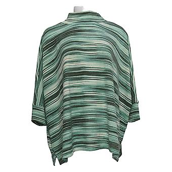 Denim & Co. Kobiety&s Top Spacedye Print Jersey 3/4 Slv Poncho Green A38852