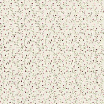 Floral Cream Pink Rasch Wallpaper