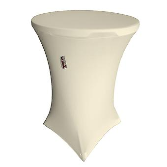 La Linen Round Spandex Cover For Bar High Cocktail Table, 36-Inch Round 42-Inch High, Ivory
