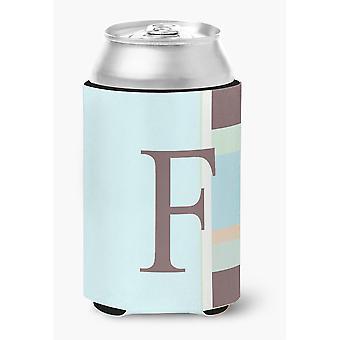 Ersten Buchstaben F Monogramm - Blau Streifen Dose oder Flasche Getränk Isolator Hugger