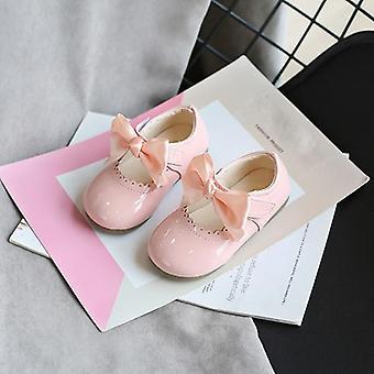 Children Pu Shoes Fashion Princess Dance Bow Non-slip Party Footwear
