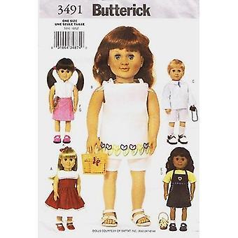 """Butterick نمط الخياطة 3491 18 """"دمية ملابس أعلى فستان شورت"""
