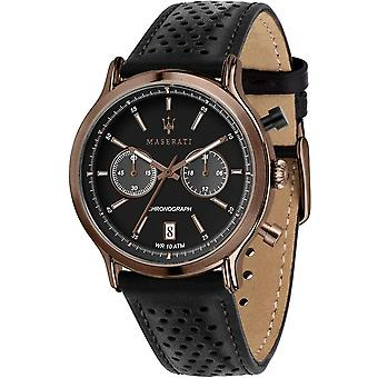 Maserati R8871638001 Men's Epoca Legend Chronograph Black Strap Wristwatch