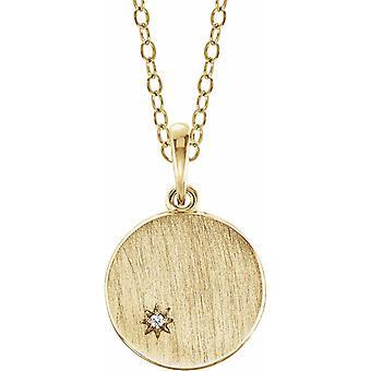 14k Gult Guld Polerat 5 Karats Diamant Graverbart Halsband Smycken Gåvor för Kvinnor - 3,1 Gram