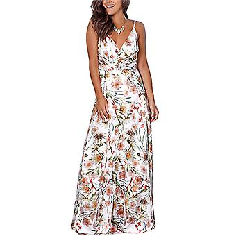 Women's Deep V-Neck Casual Dress for Beach Party (White)
