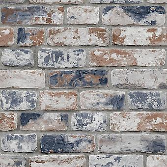 Distressed Brick Navy Red Wallpaper
