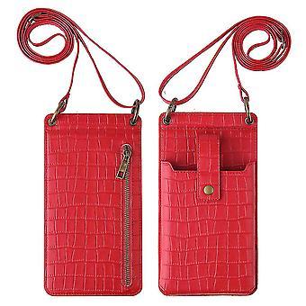 Punainen naiset krokotiili kuvio puhelin kukkaro kortin haltija lompakko crossbody laukku cai1073