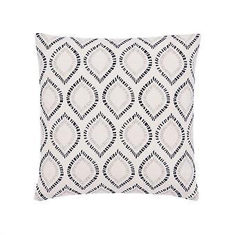 Konoko Geometric Cotton Square Cushion In Indigo Blue