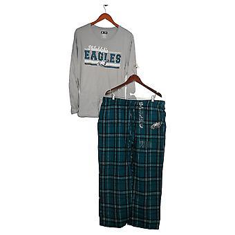 Juego de pijama para mujer de la NFL con top de manga larga y pantalones de franela verde A387687