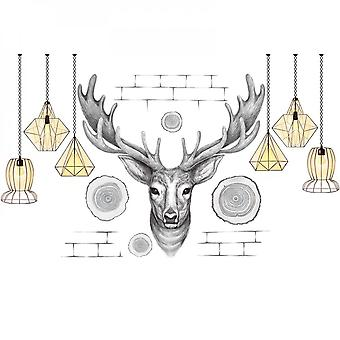Elk Hanging Lamp Wall Sticker Home Decal (size:205cm X 97cm)