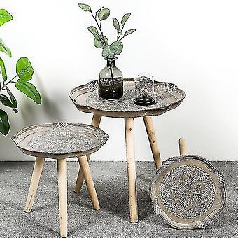 Ronde salontafel lade houten bank kant lage opbergtafel thee fruit snack plaat lade bed wonen