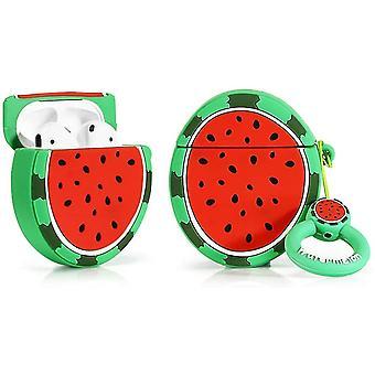 Funda protectora de silicona para Apple Airpods 1 y 2, Frutas y Verduras-Patrón de Sandía 1pc