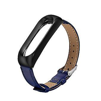 Correa de cuero con marco de metal para Xiaomi Mi Band 3/4 - Azul oscuro