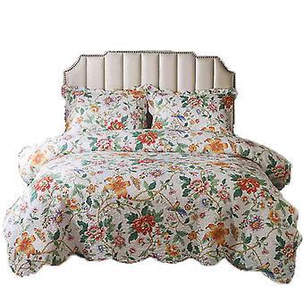Ensemble de litière de courtepointe florale 3 pièces pour lit de courtepointe couvre-lit léger doux ensemble de lit d'été (1 courtepointe plus 2 taie d'oreiller)