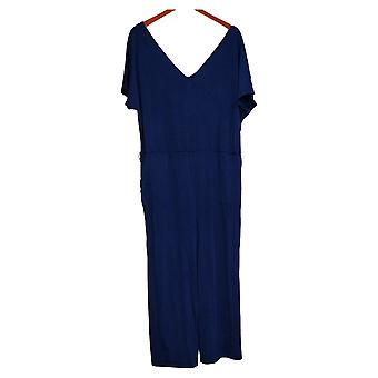 AnyBody Jumpsuits Textured Knit Tie-Front Blue One-Piece A374526