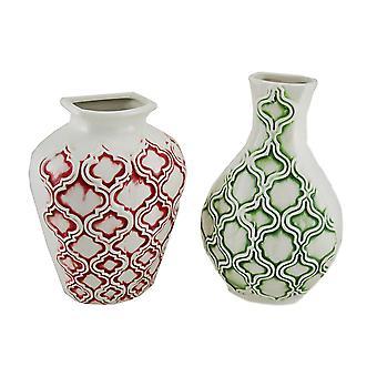 2 Pc. Marrakesh Pattern Ceramic Wall Vase Set