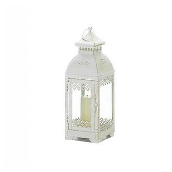 Gallery of Light Victorian Style Square White Candle Lantern - 13 inches, Pack of 1