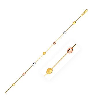 14k Tri-Color Gold Puffed Oval Shape Station Verstelbare Enkelband