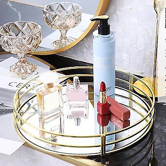 Plateau de rangement miroir en verre inspiré du style minimaliste nordique (Or)