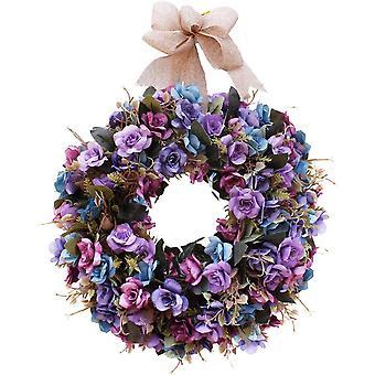 "16"" Natural Garlands Front Door Wreaths Artificial Rose Hanging Wreath Decoration"