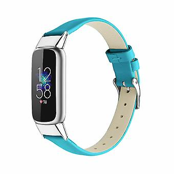for Fitbit Luxe / Special Edition Band Strap Genuine Leather Replacement Wrist[Blue]