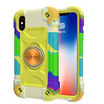 Sopii Iphone X/xs/5.8 -matkapuhelimen kuorelle, kontrastivärille pyörivän kiinnikkeen kuorelle, kaksoisrenkaan all-inclusive-suojakansille (keltainen-vihreä)